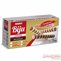 Tubetes Rolinho de Wafer Recheado com Chocolate Biju Marvi 2 Kg