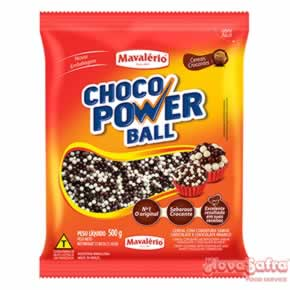 Choco Power Micro Ball Cereal Coberto com Chocolate ao Leite e Branco Mavalério 500 Gramas