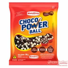 Choco Power Mini Ball Cereal Coberto com Chocolate ao Leite e Branco Mavalério 500 Gramas